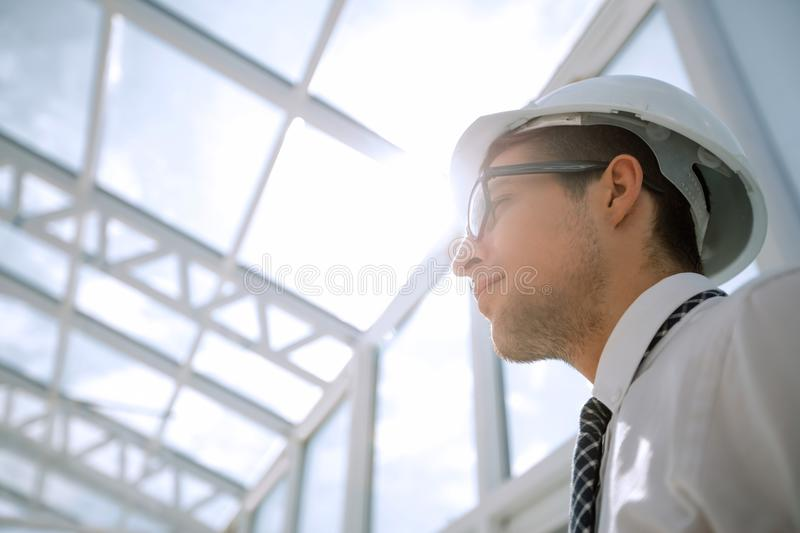 Background image. young architect in an empty office stock photography