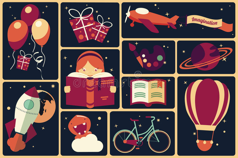 Background with imagination items and a girl reading a book vector illustration