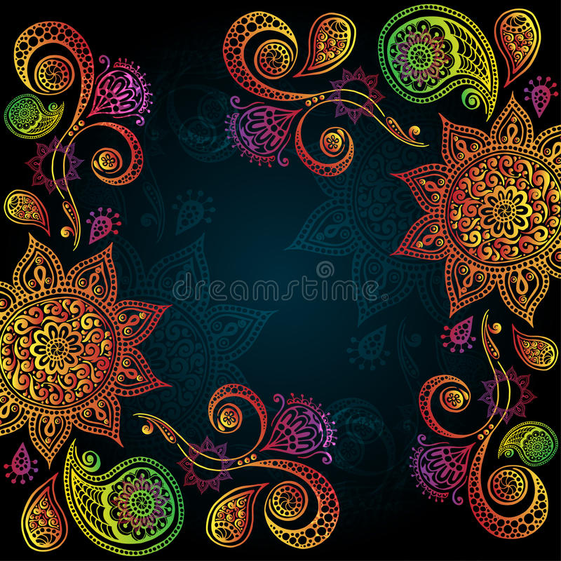 Background with Indian Ornament And Mandala stock illustration