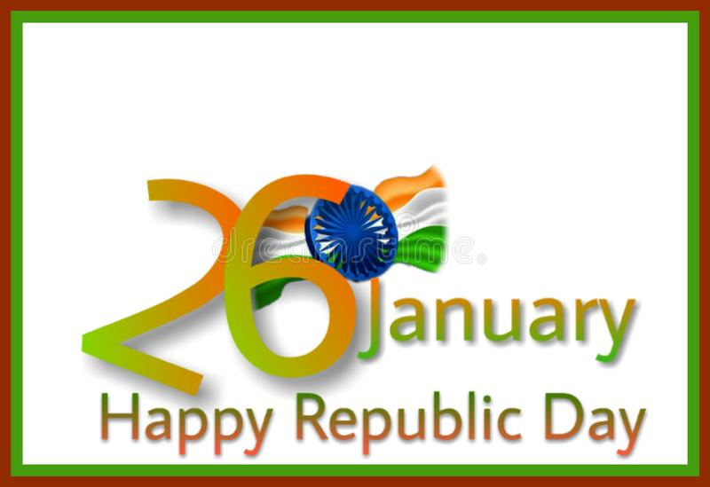 Framed background of Indian Republic Day 26th January stock illustration