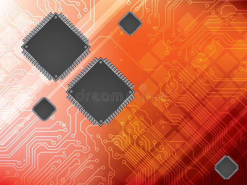 Background with integrated circuit and data proces vector illustration