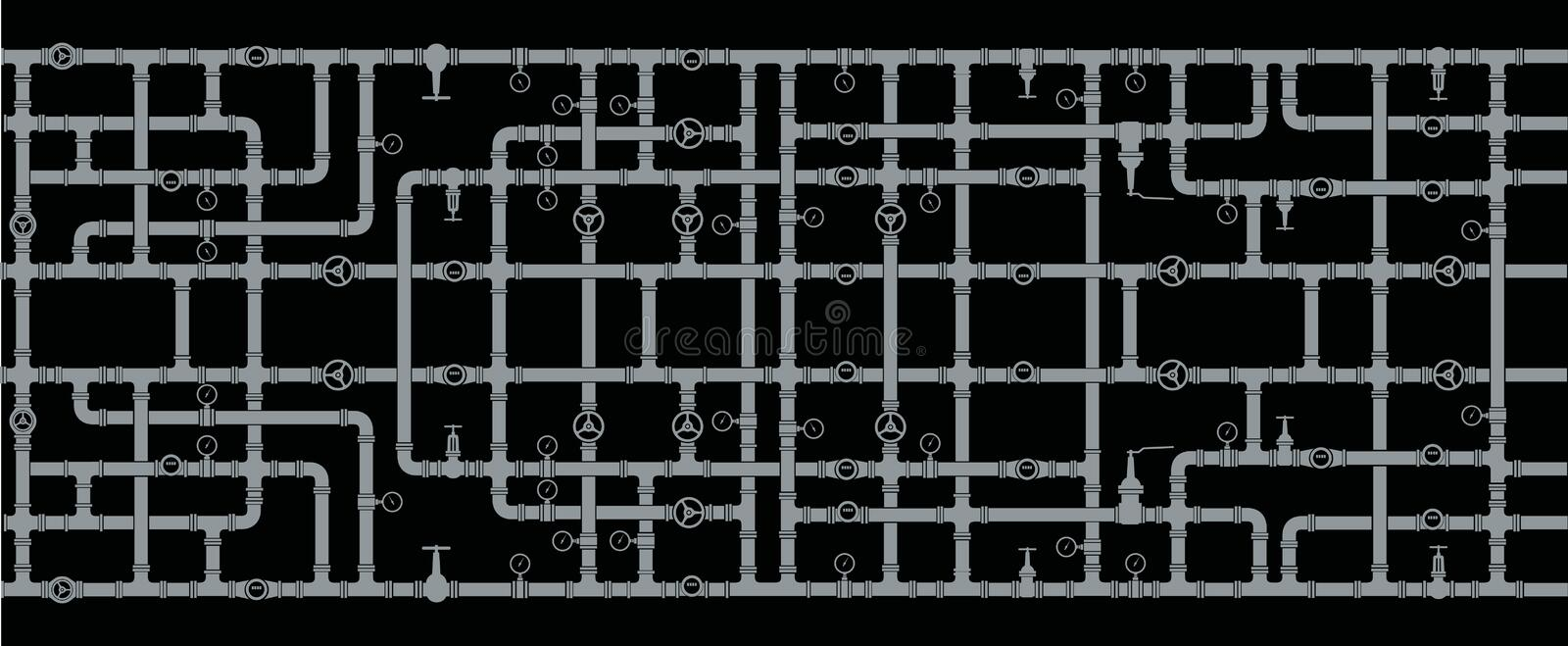 Background of intertwined water pipes. Elements of sanitary ware. Seamless vector illustration
