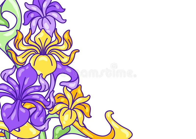 Background with iris flowers. Art Nouveau vintage style. stock image
