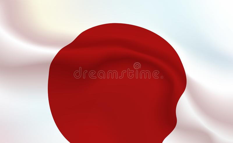 Background Japan Flag in folds. Tricolour banner. Pennant with stripes concept up close, standard Rising sun country. Japanese stock illustration