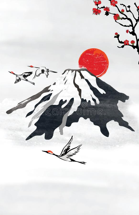 Background for japanese / korean greeting cards with stylized mountains and flying crane birds. Vintage background for japanese / korean greeting cards with stock illustration