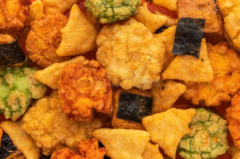 Background of Japanese snacks with seaweed and wasabi, top view royalty free stock photo