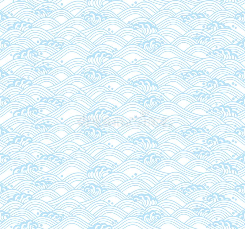 Light blue background with Japanese waves. royalty free illustration