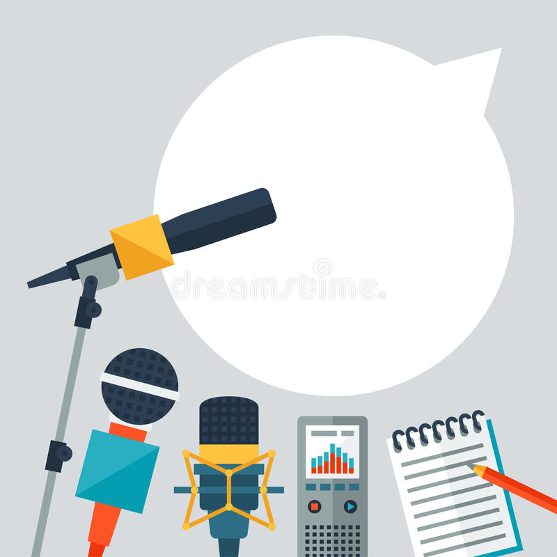 Background with journalism icons. Mass media and press conference concept symbols in flat style stock illustration