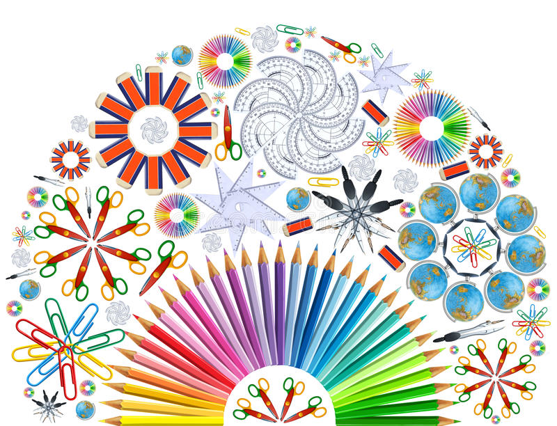 Download Background With Kaleidoscope Of School Supplies Stock Illustration - Image: 36567349