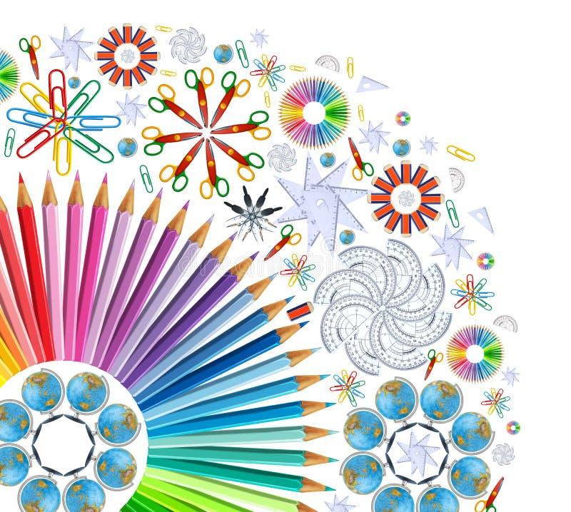 Background with kaleidoscope of school supplies stock illustration
