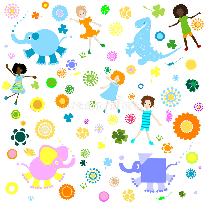 Download Background for kids stock vector. Image of doll, flowers - 5051969