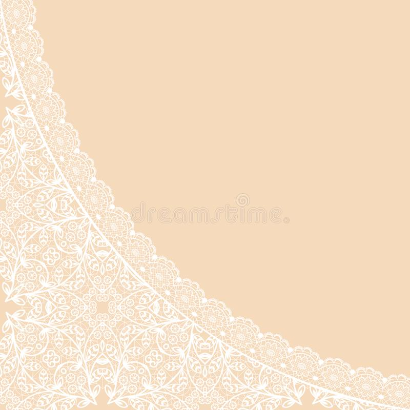 Background with lace. White lace pattern on a beige background vector illustration