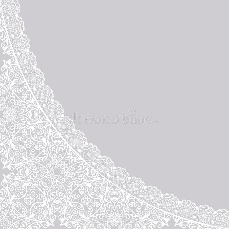 Background with lace. White lace pattern on a gray background vector illustration