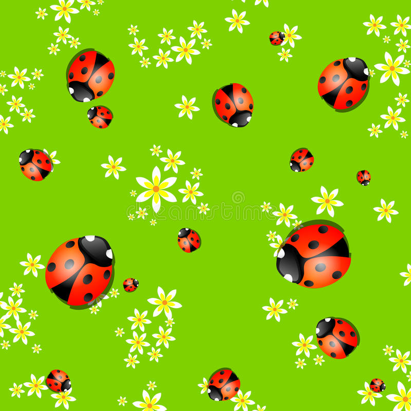 Background with lady bugs stock illustration