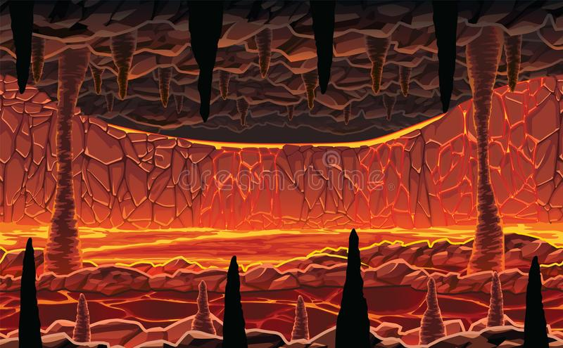 Background of landscape - infernal hot cave with lava. A high quality horizontal seamless background of landscape - infernal hot cave with lava. Horizontal royalty free illustration