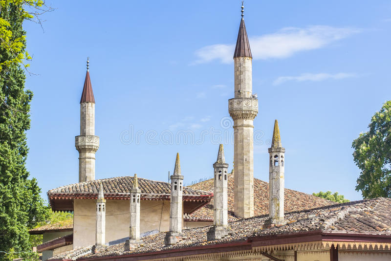 Background landscape view of the Khan's Palace, in Bakhchisaray stock image
