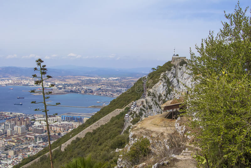 Background landscape view of the top of the Rock of Gibraltar, an abandoned military battery, a weather station and city. Below royalty free stock image