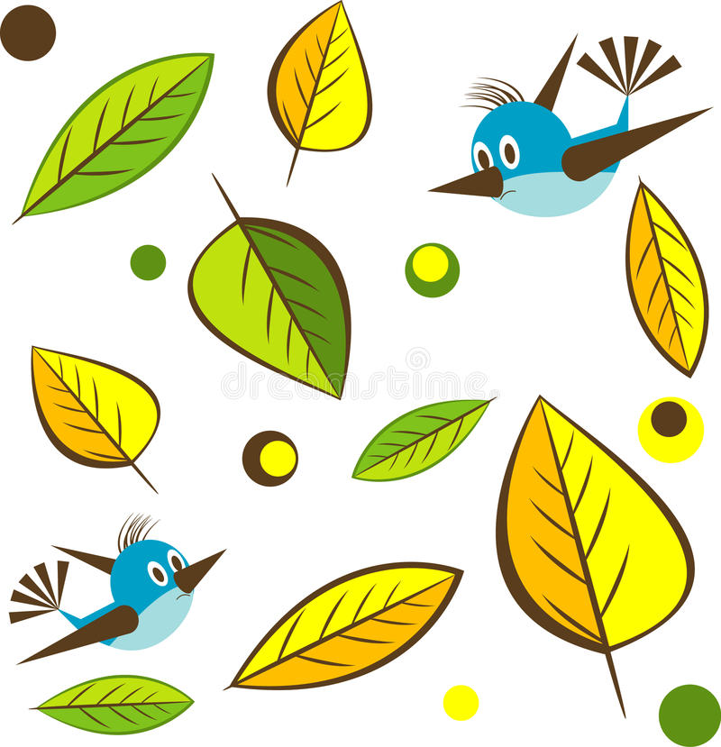 Background with leaf , bird. Vector Illustratio royalty free stock image