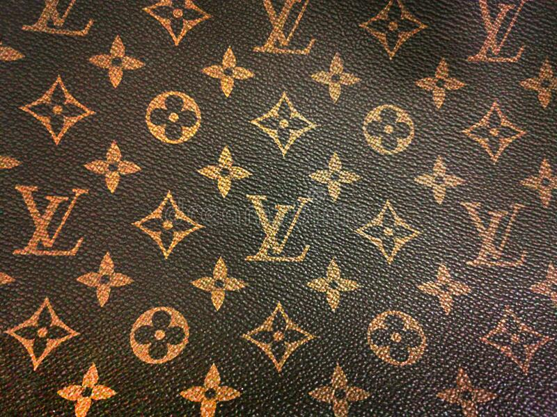 Background of a leather texture with the brand louis vuitton stock photo