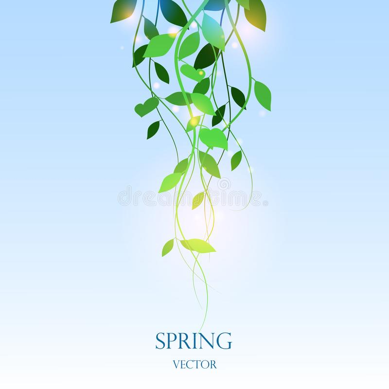 Background with leaves, light effect, vector leaves on a blue background, vector illustration