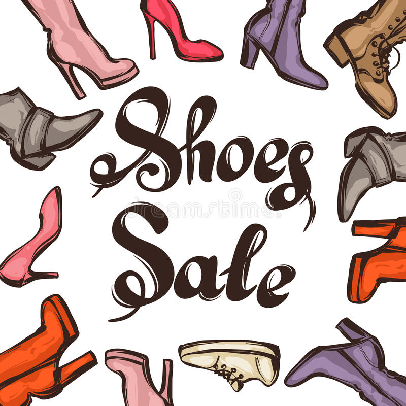 Background with lettering sale shoes. Hand drawn illustration female footwear, boots and stiletto heels.  royalty free illustration