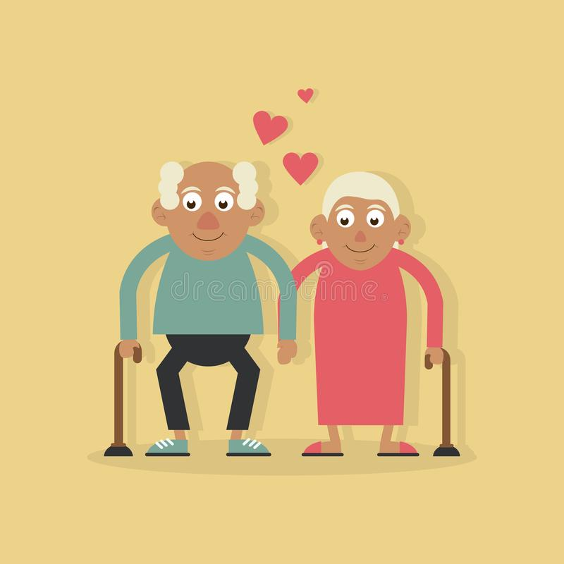 Background light yellow color with couple of grandparents in love and holding hands and both with walking stick. Vector illustration stock illustration