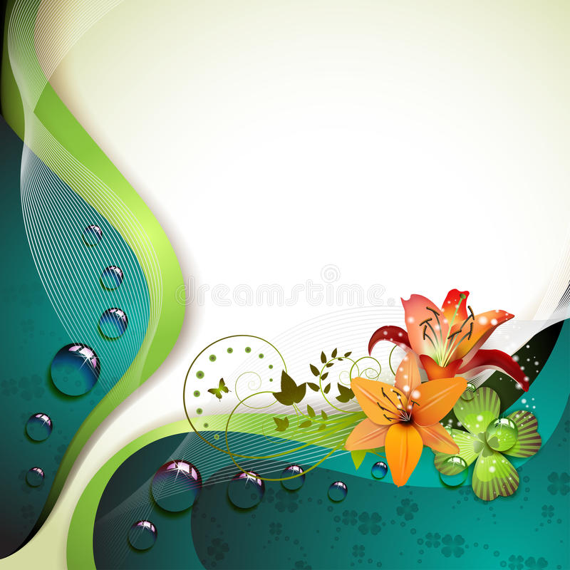 Download Background with lilies stock vector. Image of concept - 19734996
