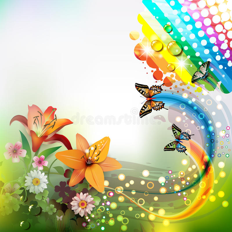 Download Background with lilies stock vector. Image of circles - 25737951