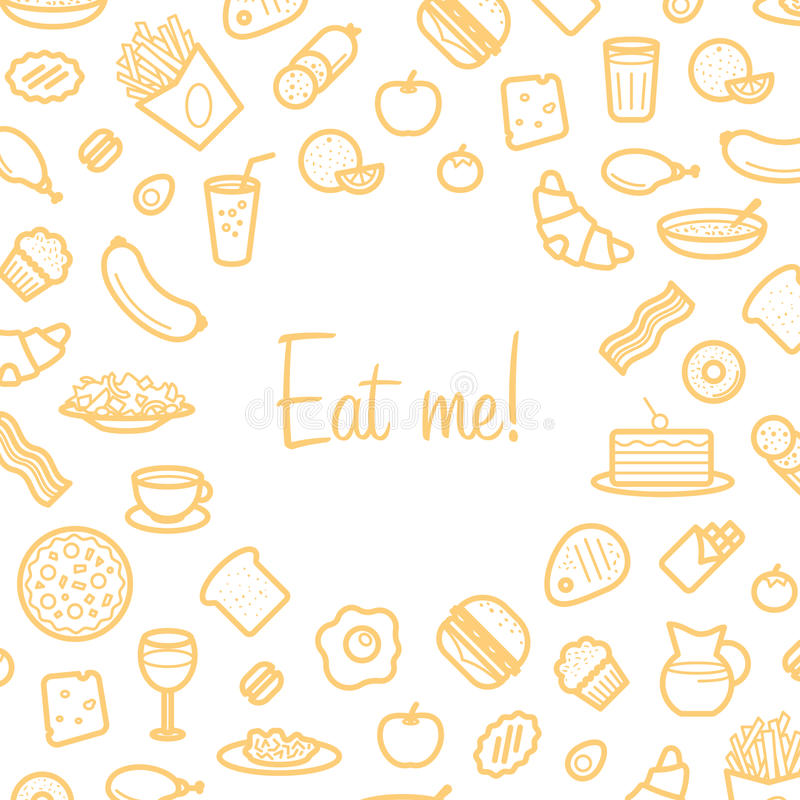 Background With Line Icons of Food Like Sausage, Cake, Donut, Croissant, Bacon vector illustration