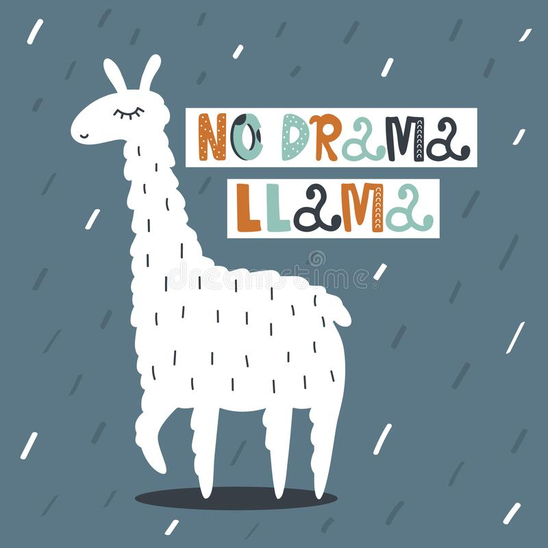 Background with happy llama and text. No drama, llama stock illustration