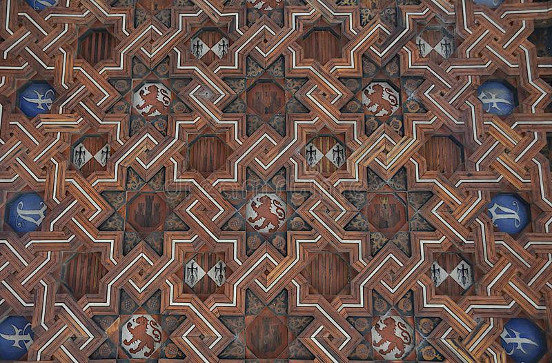 Background with medieval coats of arms and emblems of feudal lords. royalty free stock photos