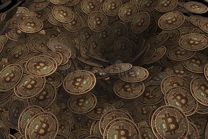 The background made of many cryptocurrency bitcoin - 3d rendering. Background made of many cryptocurrency bitcoin - 3d rendering vector illustration