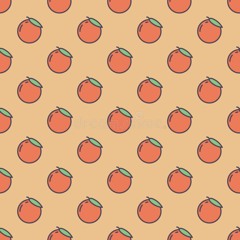 Background made of oranges. Vector seamless pattern with orange oranges in flat style stock illustration