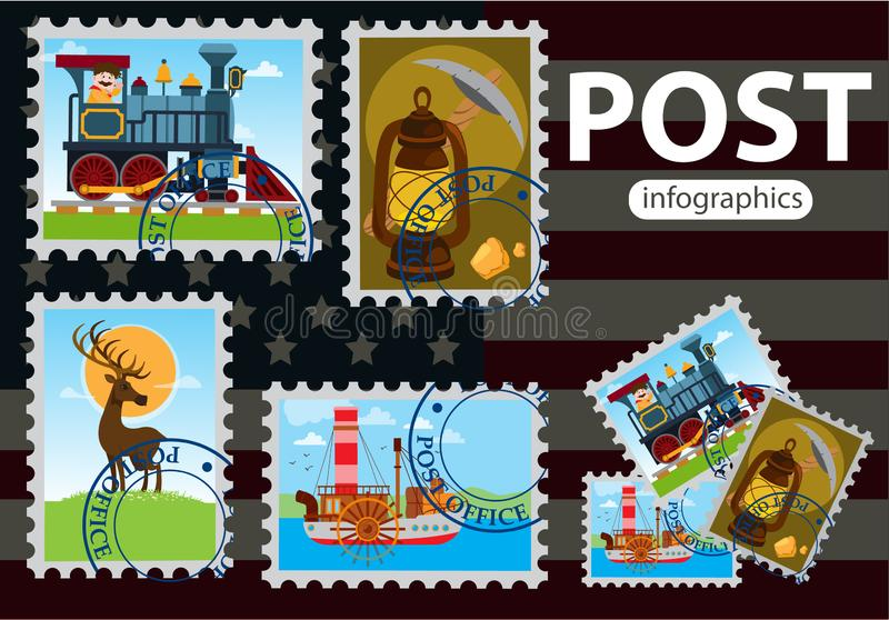 Background mail in America. Stamps with the image of an old steam locomotive, steamer and a kerosene lamp. Stamps on a background royalty free stock photography