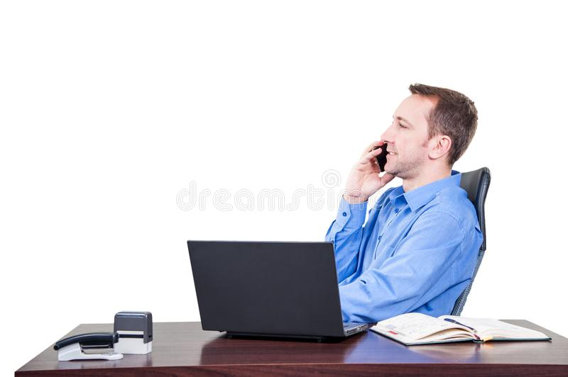 Background with manager in the office, on the top floor building, royalty free stock photo