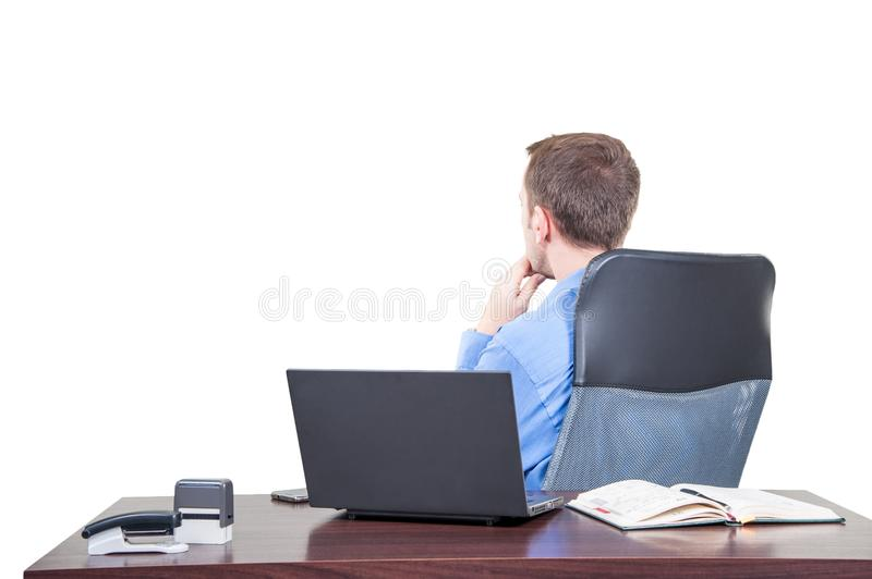 Background with manager in the office, on the top floor building, stock photo