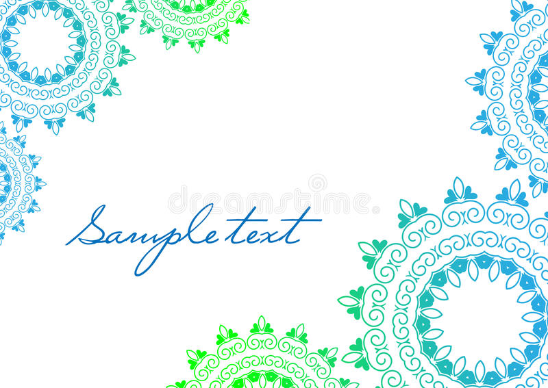 Background mandala in green and blue colors. Gift card template royalty free illustration