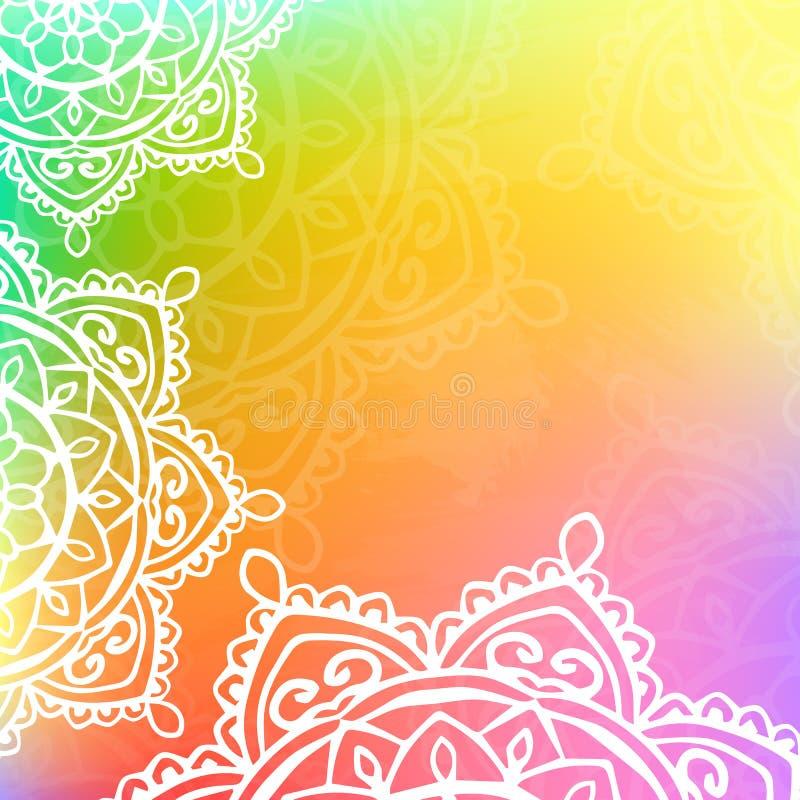 Background mandala rainbow color. Vector background mandala rainbow color abstract pattern royalty free illustration