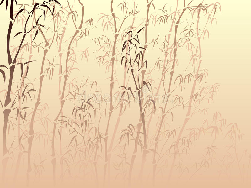 Background with many bamboo from mist. stock illustration
