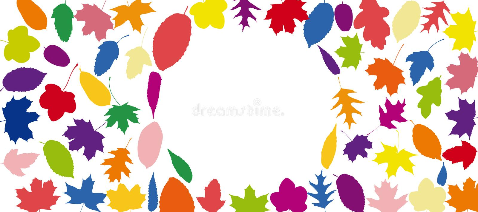 Background with many colorful autumn leaves stock illustration