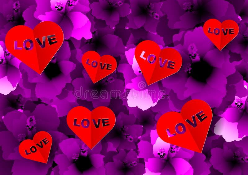Background with many paper volume hearts red with love text inserted into a cutout. Carpet of purple flowers, pink floral pattern vector illustration