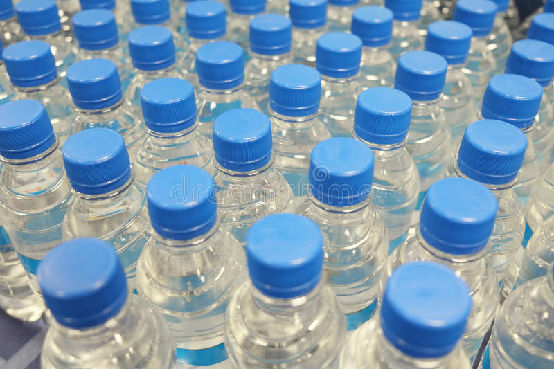 Background with the many plastic bottles stock photos