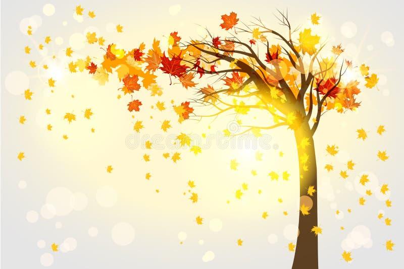Lonely autumn tree vector illustration