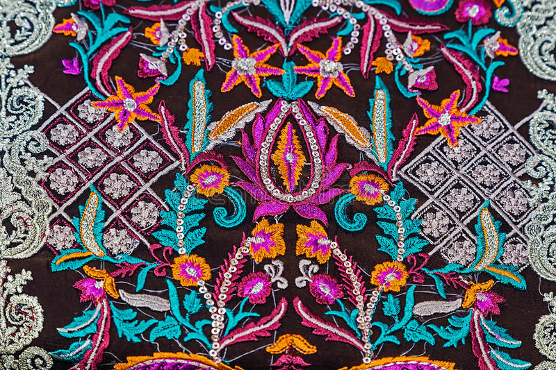 Background with material embroidered from Bistrita-Nasaud, Roman. Background with material embroidered with specific patterns of the Bistrita-Nasaud area royalty free stock photography