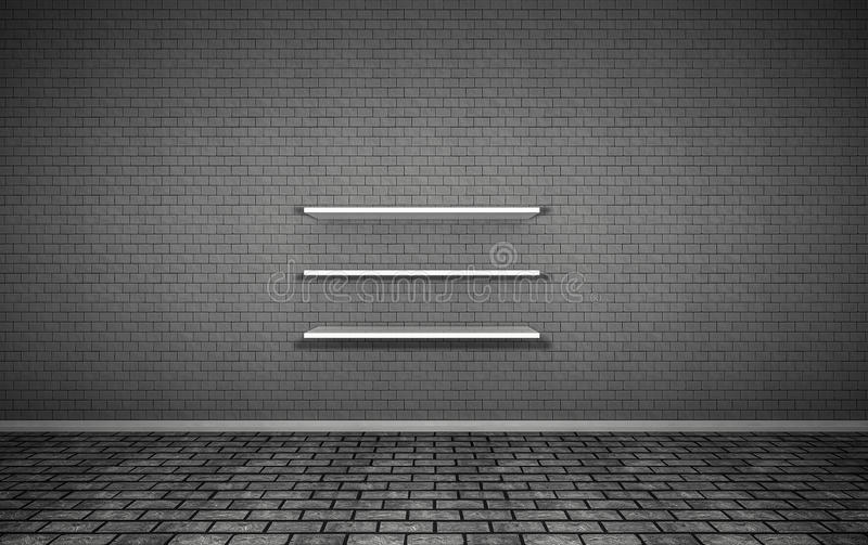 Background Material render,Brick wall,3Shelf stock photography