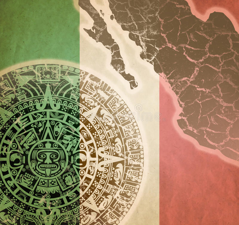 Background with Mayan calendar. Background in American Indian Style with Mayan calendar, Mexican flag and map on old paper royalty free stock images
