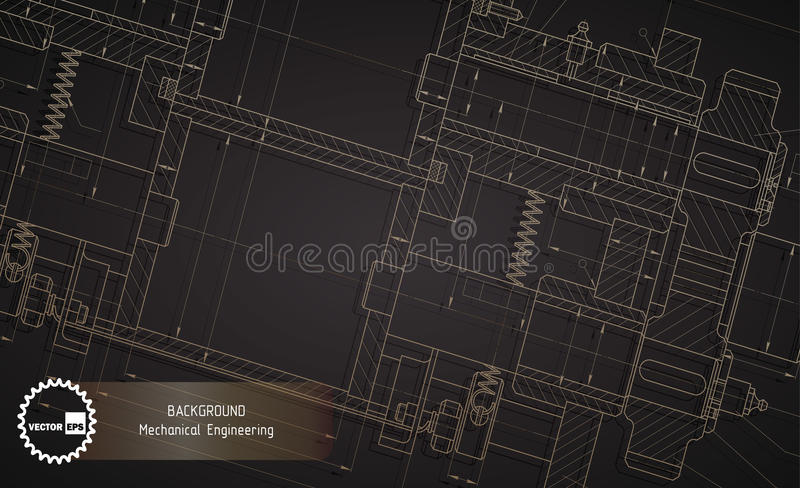Background of mechanical engineering drawings on dark vector illustration