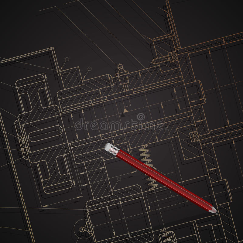 Background of mechanical engineering drawings on dark stock illustration