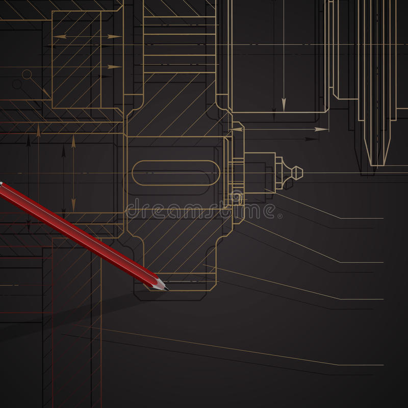 Background of mechanical engineering drawings on dark royalty free stock photography