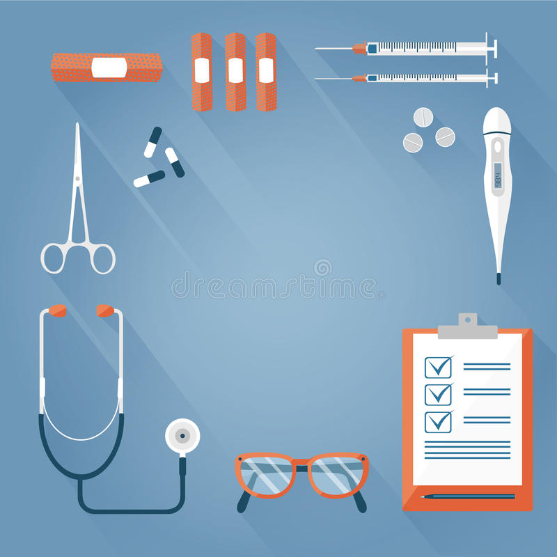 Background medical tools royalty free illustration